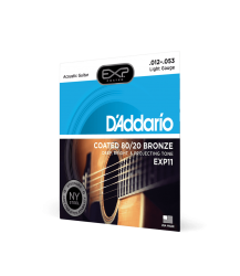 D'Addario Acoustic Guitar String Set Light Gauge .012-.053 Coated 80/20 Bronze