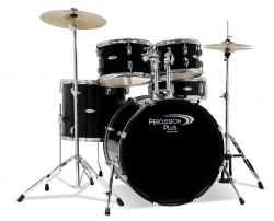 Percussion Plus 5-Piece Black Drumset w/ Cymbals