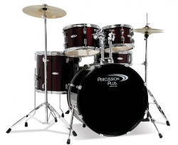 Percussion Plus 5-Piece Red Wine Drumset w/ Cymbals
